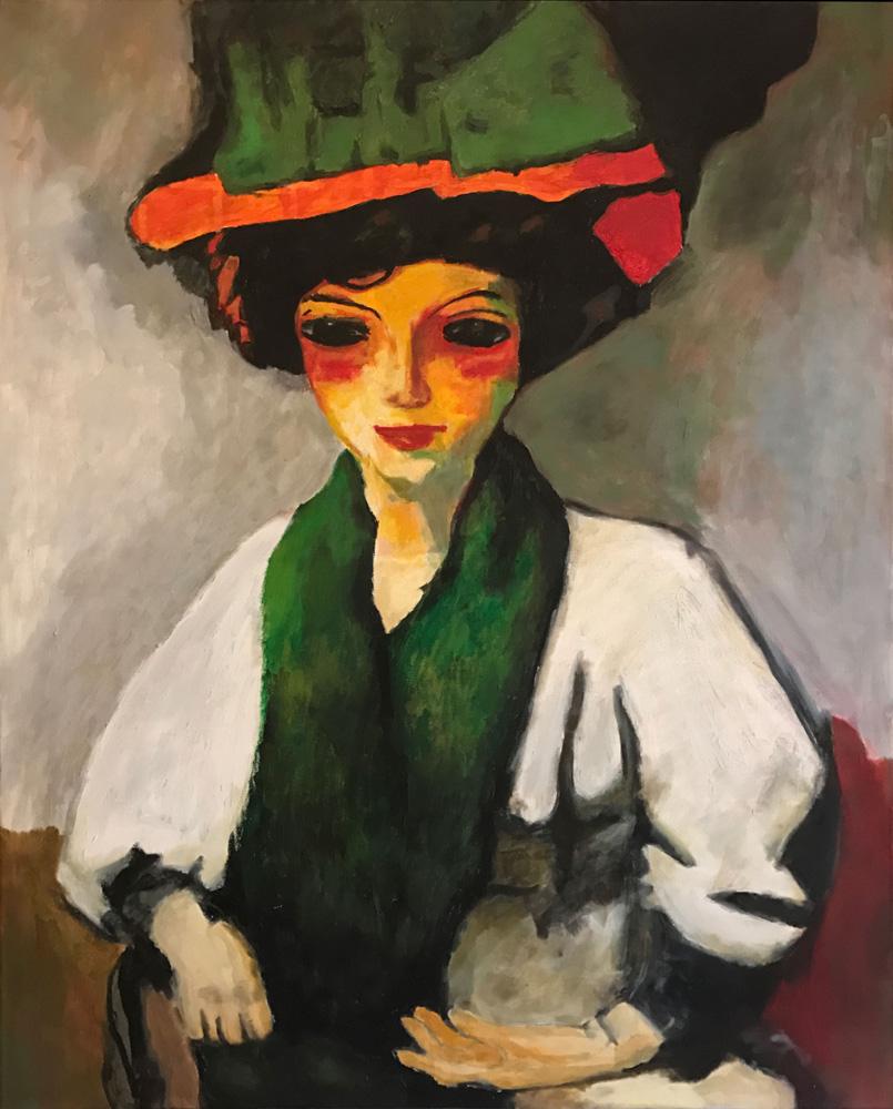 femme au chapeau (reproduction) 100x80 (vendu)